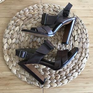 Marni brown leather buckle heels